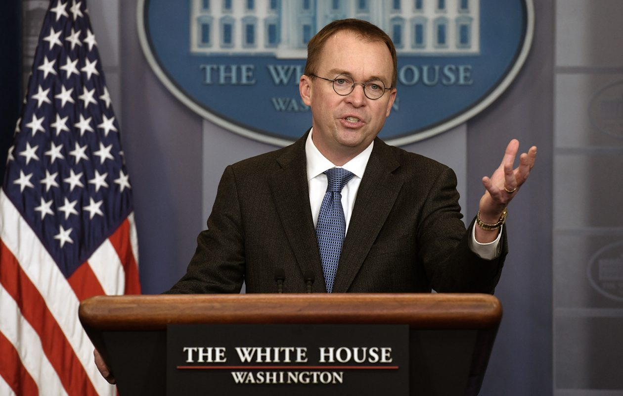 Office of Management and Budget Director Mick Mulvaney discusses the possible government shutdown in a press briefing Jan. 19. (Olivier Douliery/Abaca Press/TNS)
