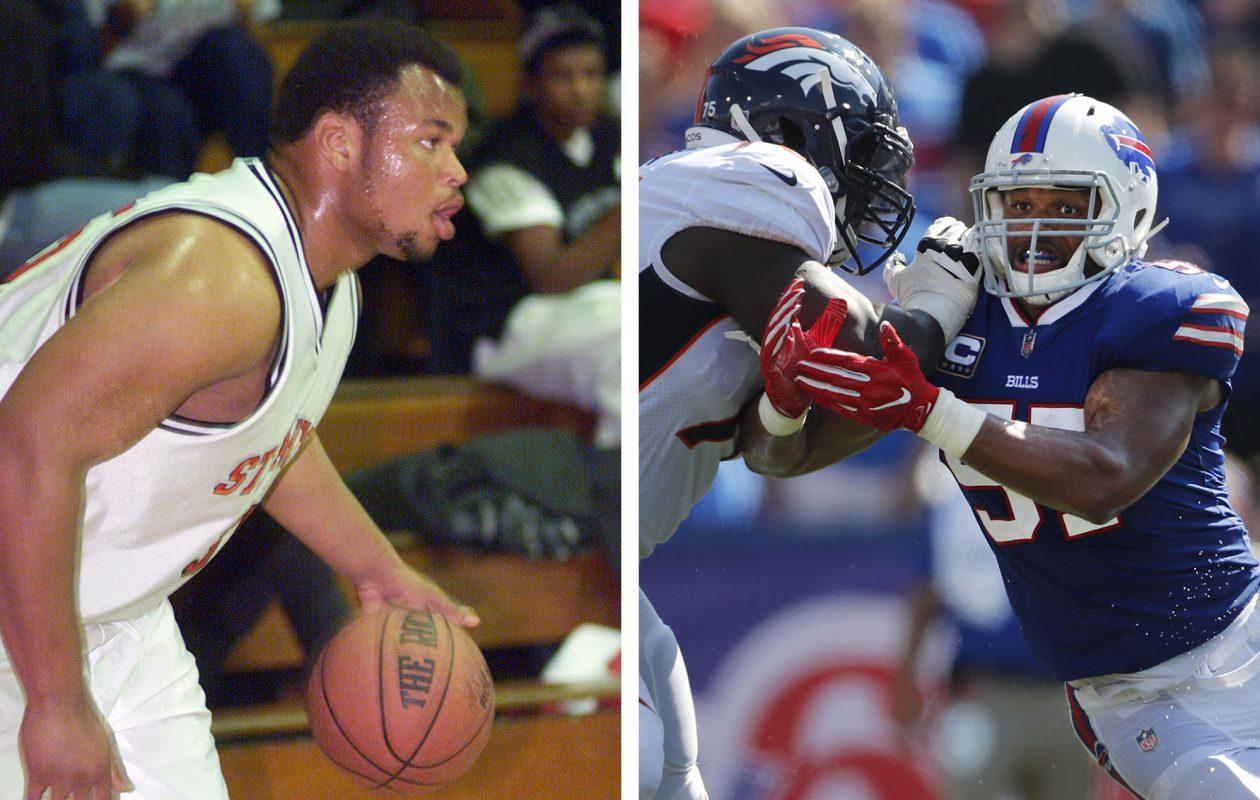 Bills linebacker Lorzeno Alexander playing basketball in high school, left, and rushing the quarterback against the Denver Broncos. (Mike Kepka/San Francisco Chronicle; Mark Mulville/Buffalo News)