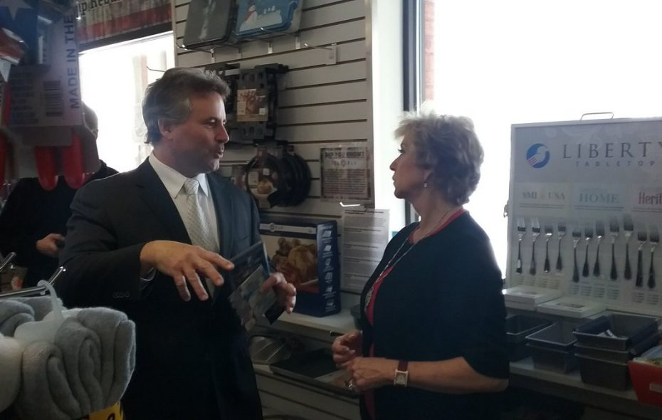 Mark Andol gives a tour of the Made in America store to Linda McMahon, SBA director. (Matt Glynn/Buffalo News)