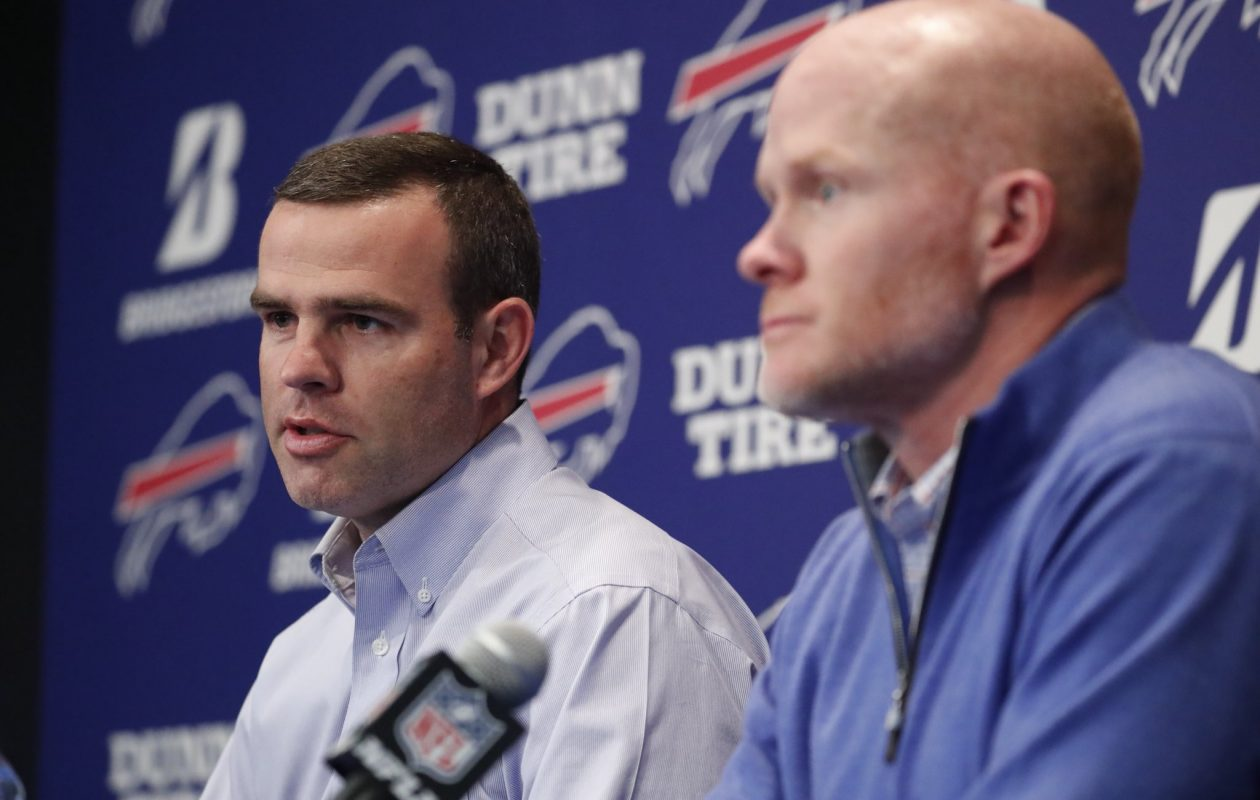 Bills General Manager Brandon Beane and head coach Sean McDermott address the media at the team's end-of-season press conference on Tuesday, Jan. 9, 2018. (Mark Mulville/Buffalo News)