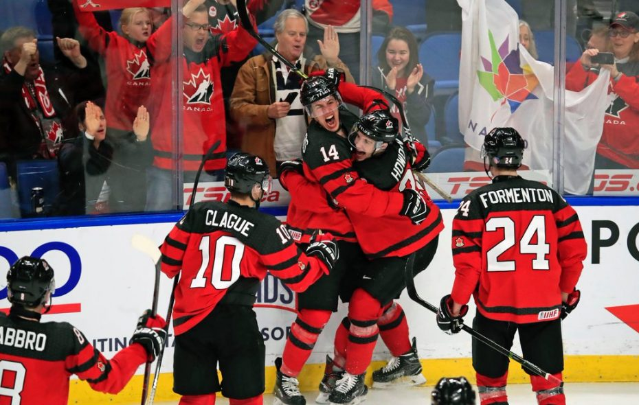 Team Canada celebrated often during Thursday's semifinal triumph over the Czech Republic. (Harry Scull Jr./Buffalo News)