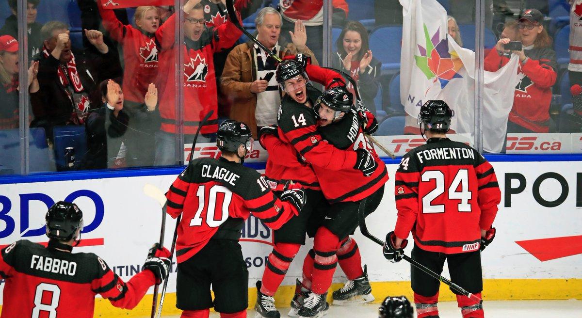Team Canada celebrated often during Thursday's semifinal triumph over the Czech Republic. (Harry Scull Jr./Buffalo News)