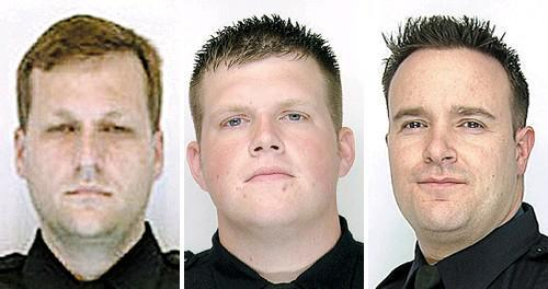 Former Buffalo police Lt. Gregory Kwiatkowski, left, is expected to testify against Officers Raymond Krug, center, and Joseph Wendel, who are accused of using excessive force in the 2009 arrests of four teens.