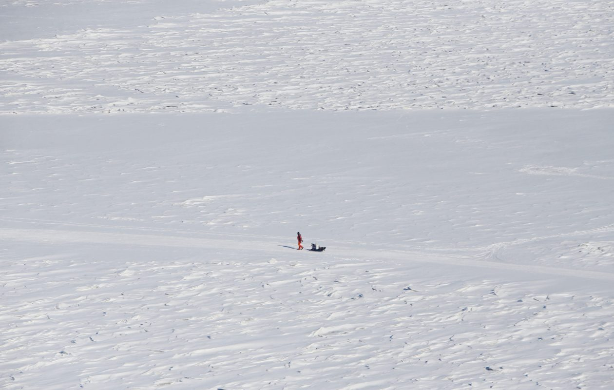 An ice fisherman at Sturgeon Point Marina. (Derek Gee/News file photo)