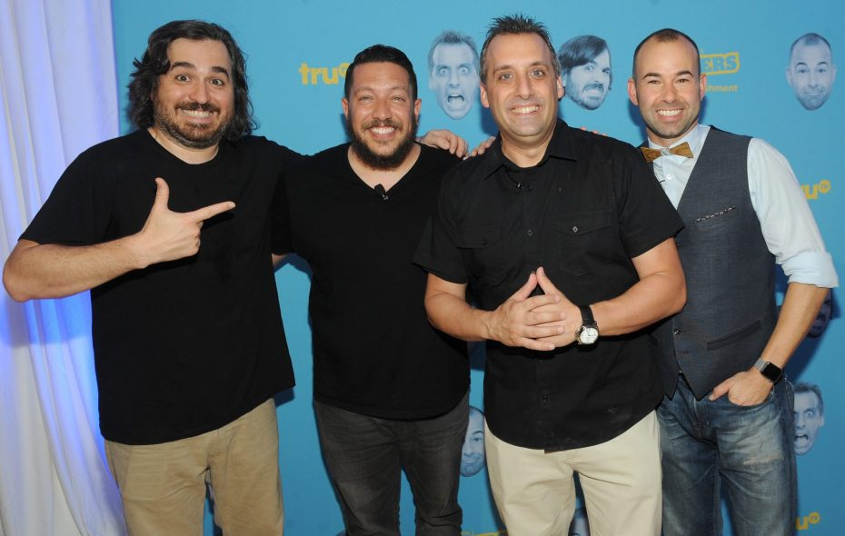 """(L-R) Brian """"Q"""" Quinn, Salvatore """"Sal"""" Vulcano, Joseph """"Joe"""" Gatto, James """"Murr"""" Murray attend the Impractical Jokers 100th Episode Live Punishment Special at the South Street Seaport on September 3, 2015 in New York City. (Getty Images)"""