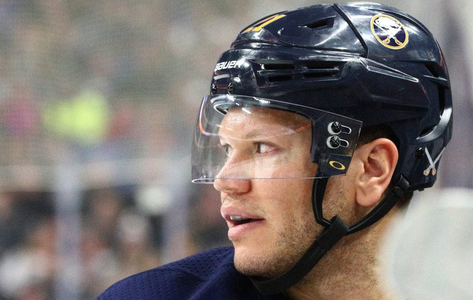 Kyle Okposo has five goals in 39 games this season. (James P. McCoy/News file photo)
