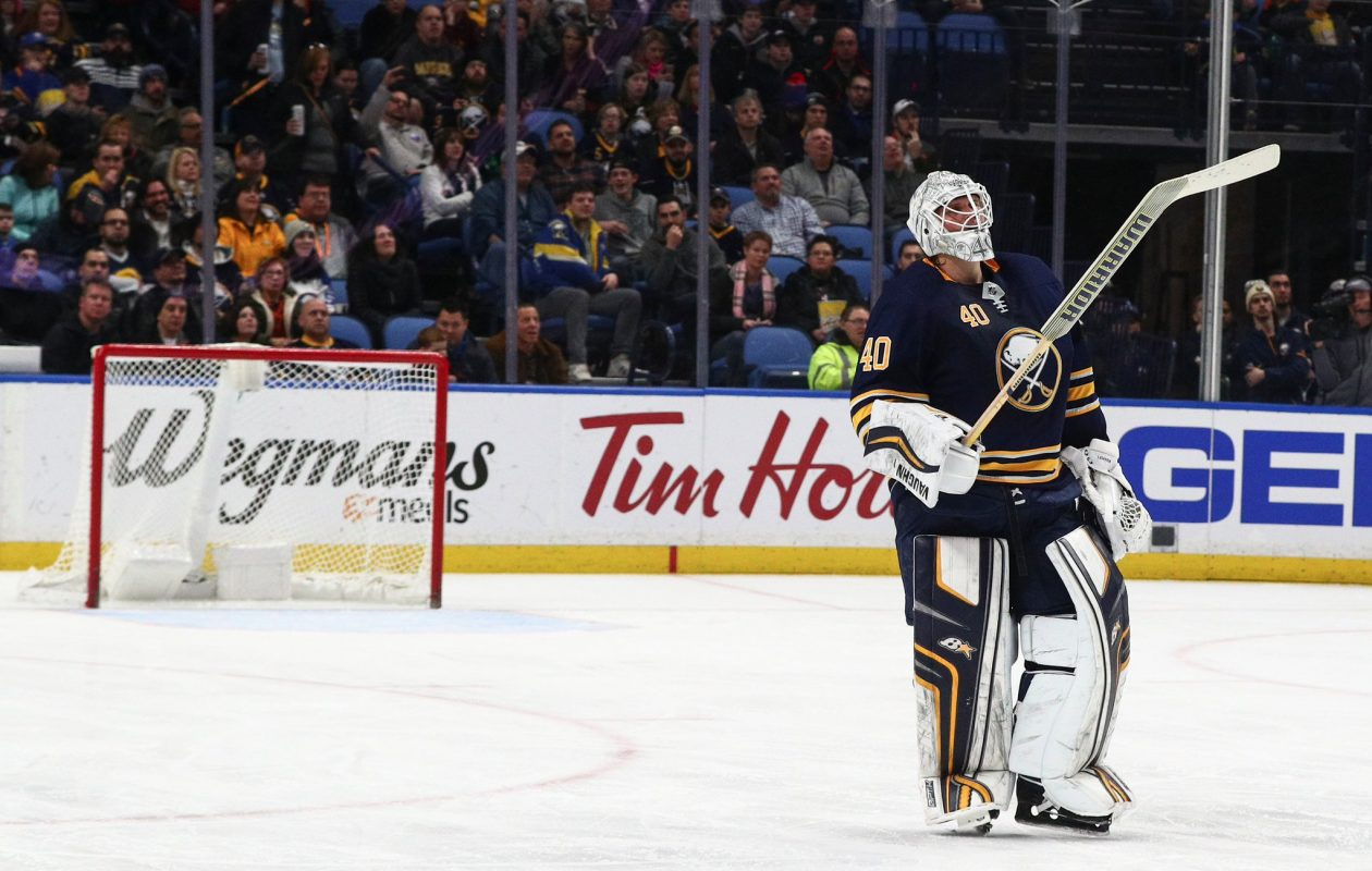 Robin Lehner is back at practice.  (James P. McCoy/Buffalo News)