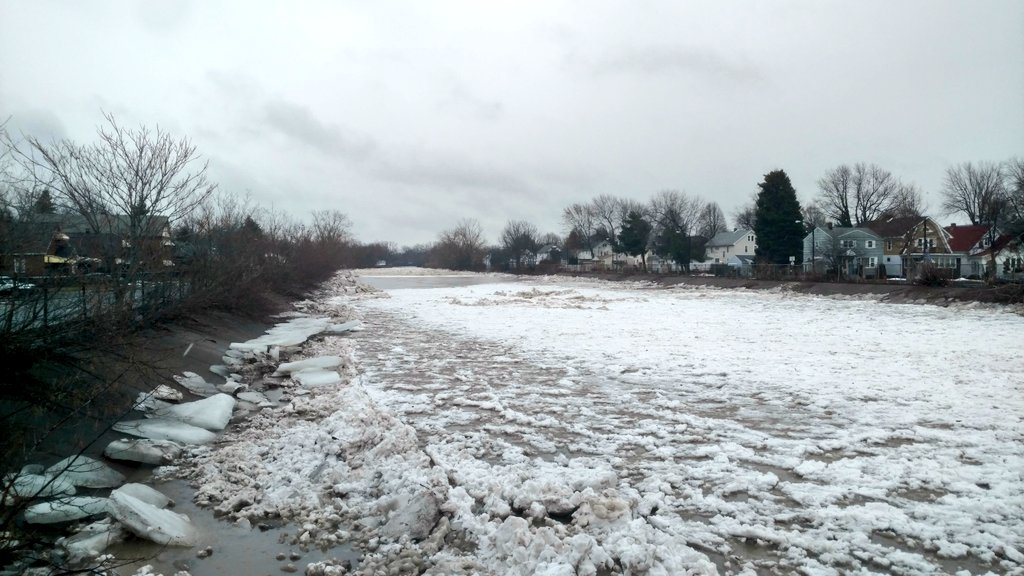 Ice fills Cazenovia Creek at the Stevenson Street Bridge in January. (Photo courtesy of Mark Poloncarz)
