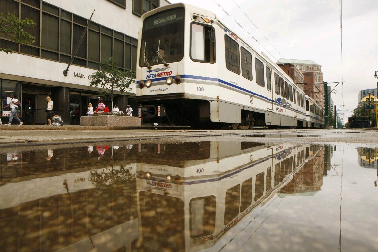 Metro Rail and Bus moved up seven spots in a national ranking of how well transit systems get riders to work. (Derek Gee/Buffalo News file photo)