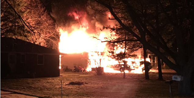 Three people escaped safely from a fire on South Abbott Road in Orchard Park early Thursday, Jan. 25, 2018. (Photo courtesy of Orchard Park Police Department)