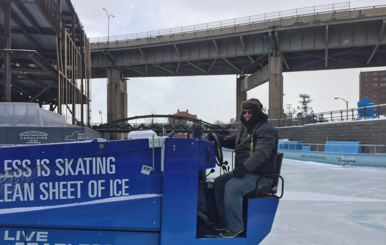 Ray Kolb operates the zamboni at The Ice at Canalside Thursday. (Maki Becker/Buffalo News)