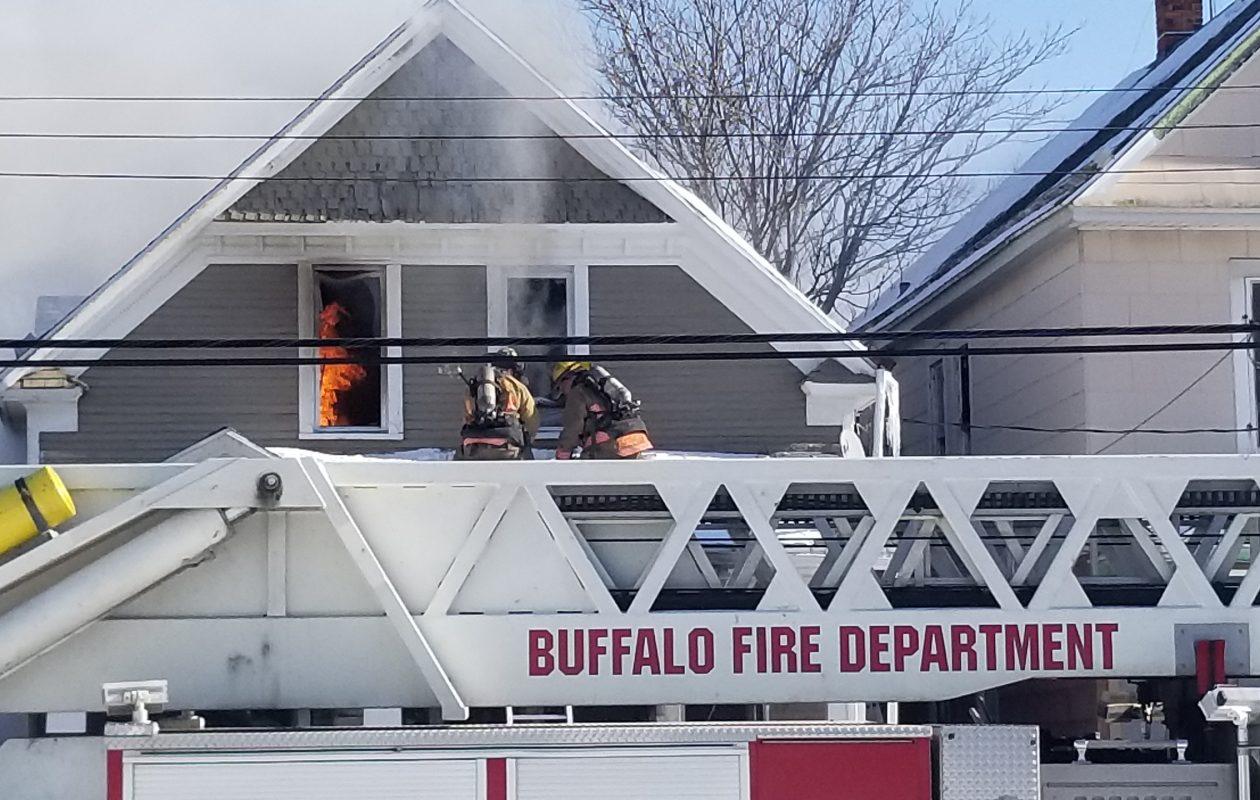 Firefighters were battling a blaze on Shepard St. Friday, Jan. 19, 2018. (David F. Kazmierczak)