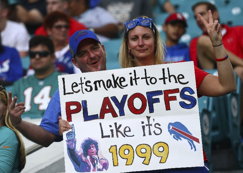 A Bills fan was in the drought-breaking spirit (James P. McCoy/Buffalo News)