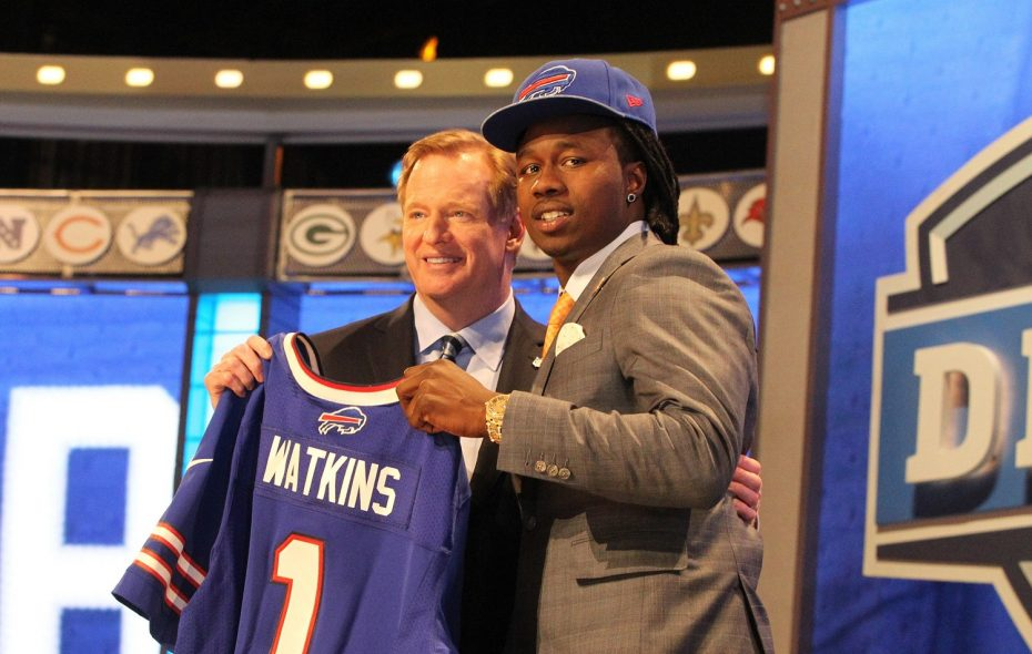 Clemson receiver Sammy Watkins poses with NFL commissioner Roger Good after the Bills picked Watkins fourth overall at the 2014 NFL draft at Radio City Music Hall in New York City, on Thursday, May 8, 2014.  (James P. McCoy/ Buffalo News)