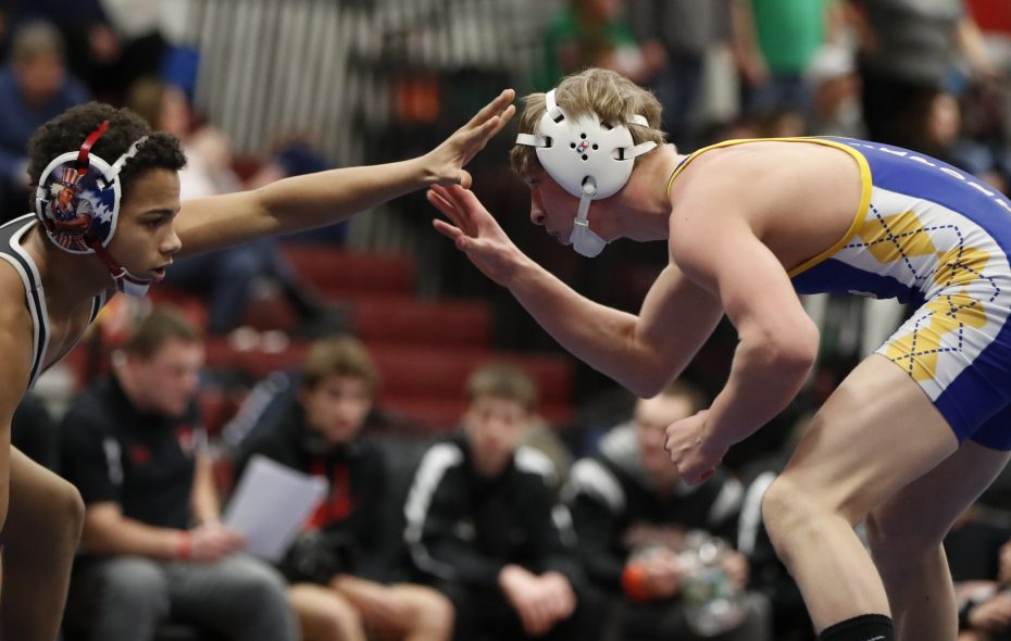 Mitch Seaver from Lockport, right, defeated Justin McDougald from Niagara Wheatfield at 113 pounds in the 2017 Section VI Division I Dual-Meet Tournament. (Harry Scull Jr./Buffalo News)