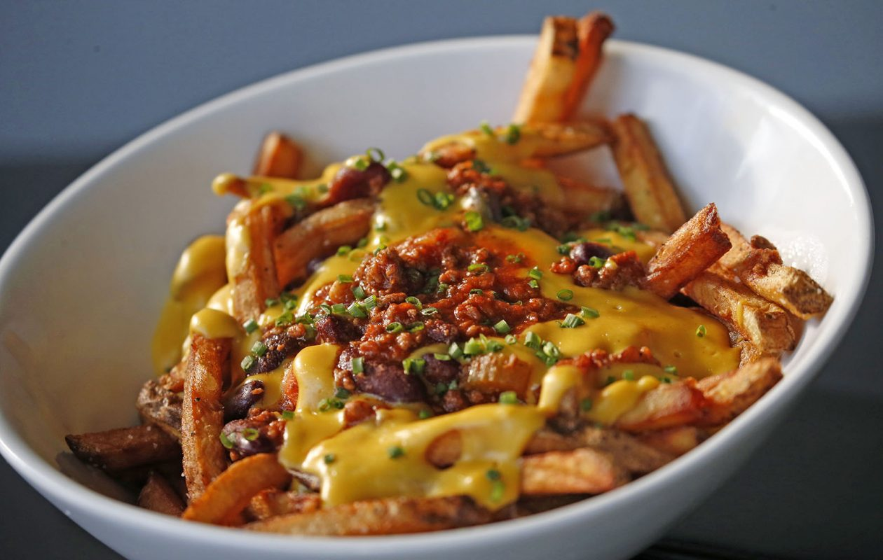 Chili cheese fries at the Juicy Burger Bar in the Village of Hamburg. (Robert Kirkham/Buffalo News)