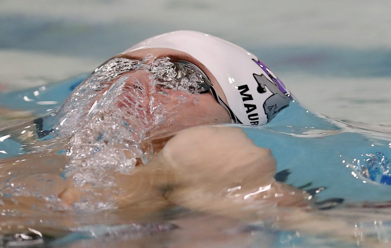 Michael Maurer from Hamburg wins the 100 yard backstroke at the 2017 Section VI boys swim championships.  (Harry Scull Jr./Buffalo News)