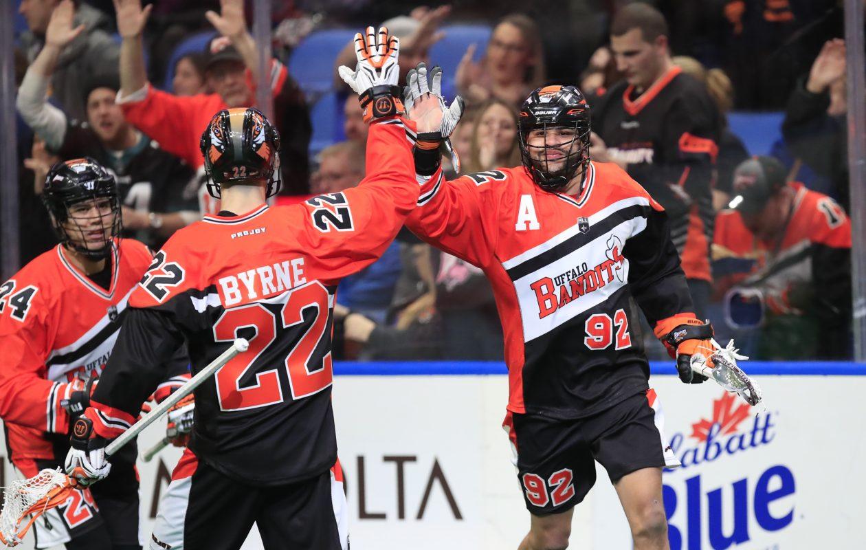 Buffalo Bandits rookie Josh Byrne has had his hand in many a goal celebration.  (Harry Scull Jr./Buffalo News)