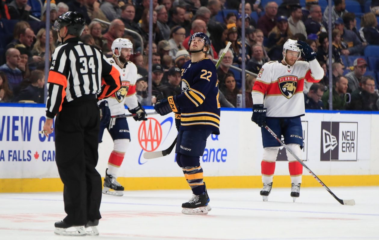 The Sabres' Johan Larsson won't be on the ice during the next two games. (Harry Scull Jr./Buffalo News)