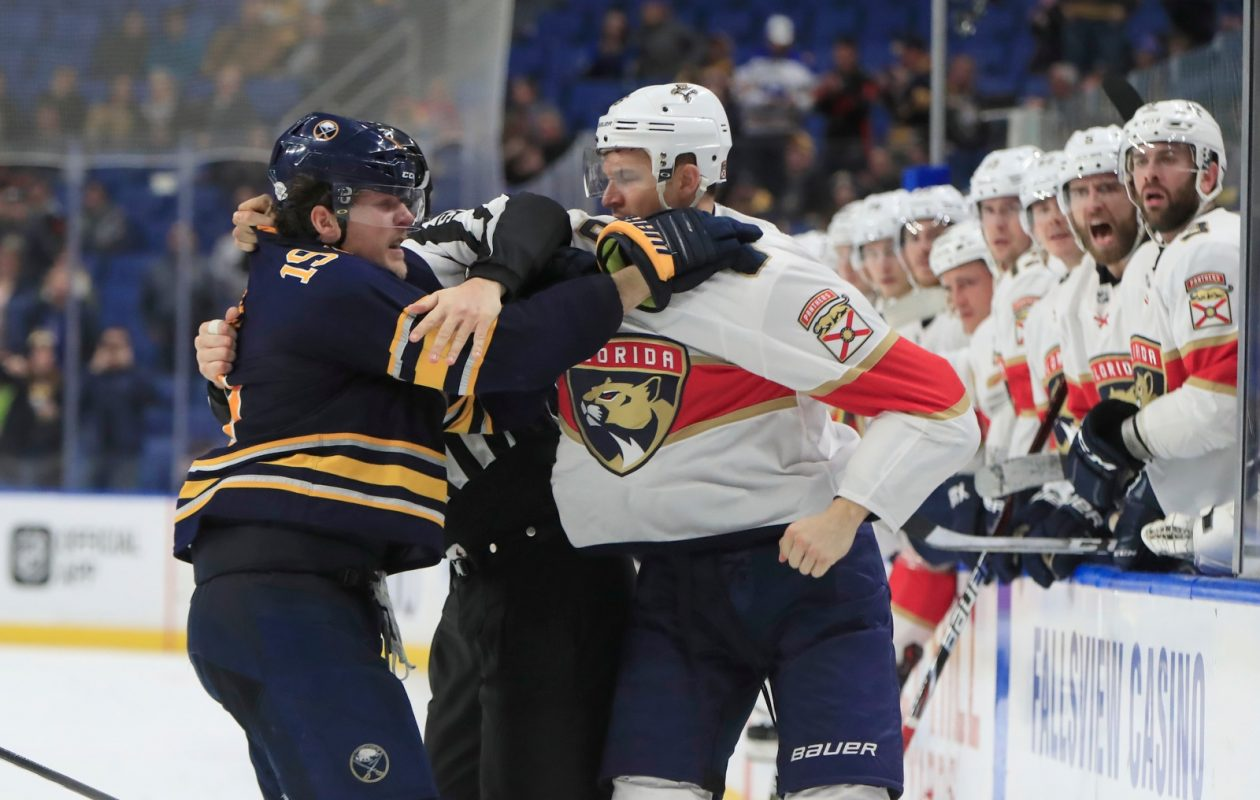 Buffalo's Jake McCabe and the Panthers' Alexander Petrovic were among those to get penalties in the final two minutes Thursday. (Harry Scull Jr./Buffalo News)