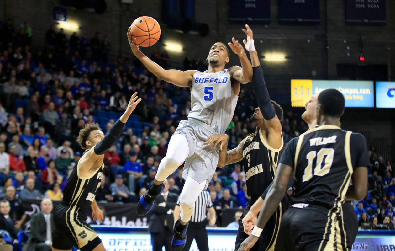 UB guard CJ Massinburg drives to the basket against Western Michigan at Alumni Arena. (Harry Scull Jr./ Buffalo News)