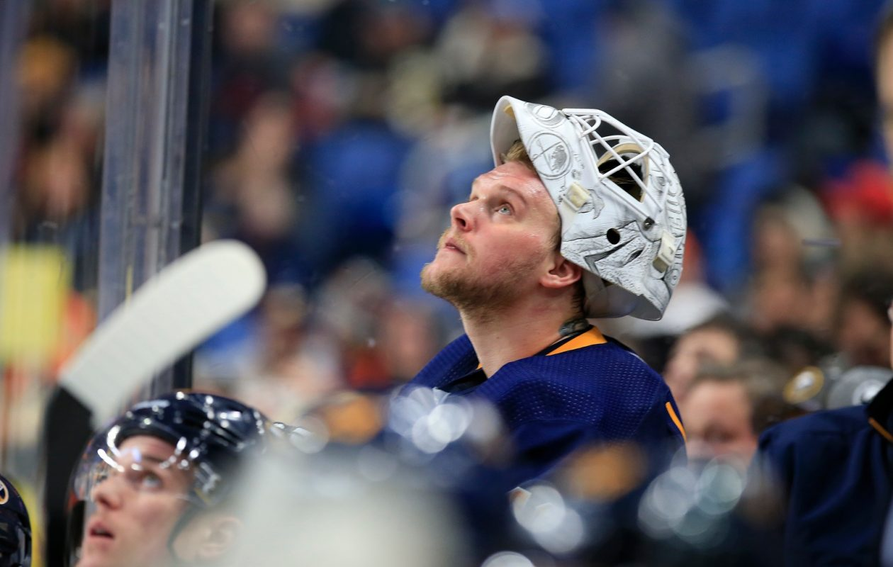 Despite a .955 save percentage in the last five games, Sabres goaltender Robin Lehner is just 2-2-1. (Harry Scull Jr./Buffalo News)