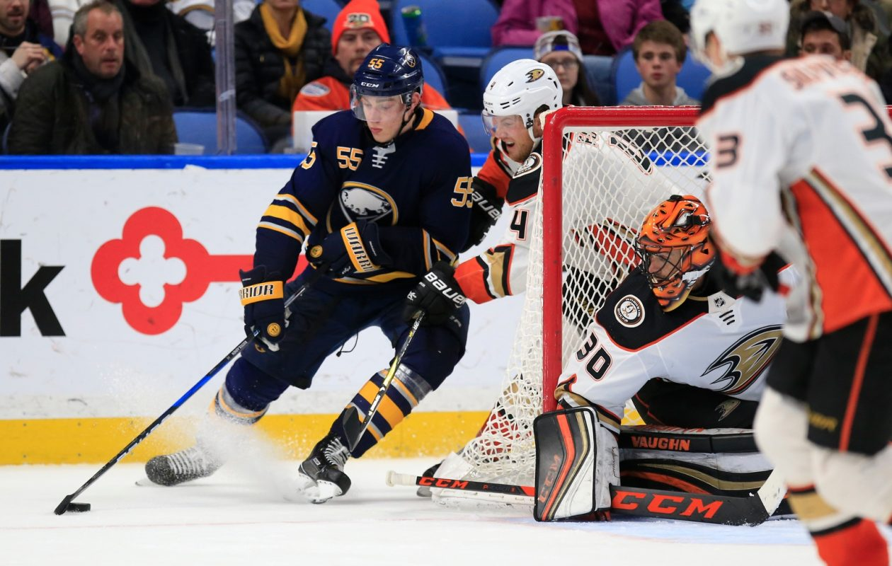 Sabres defenseman Rasmus Ristolainen had a tough overtime that resulted in a win for Anaheim goalie Ryan Miller and defenseman Cam Fowler. (Harry Scull Jr./Buffalo News)