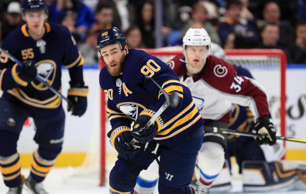 Sabres center Ryan O'Reilly had three points and won 29 of 39 faceoffs Sunday. (Harry Scull Jr./Buffalo News)