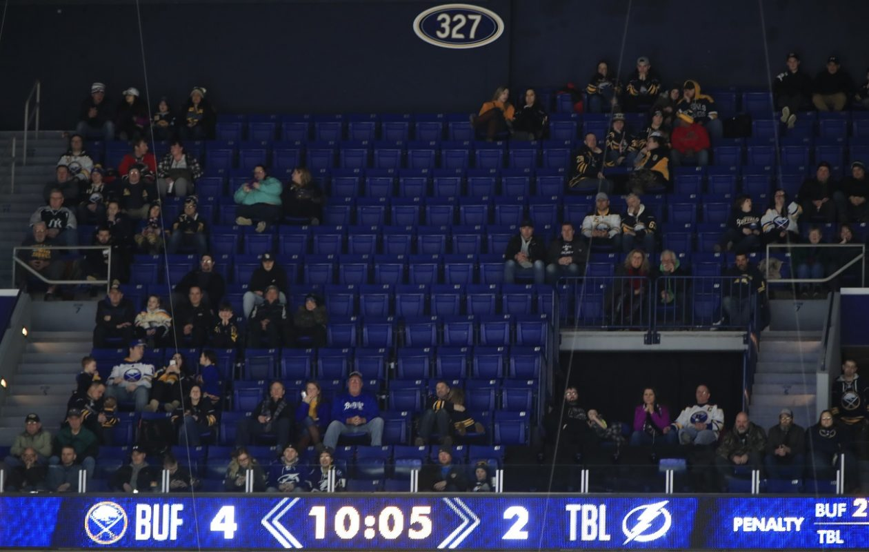 Empty seats in the 300 level as the Buffalo Sabres and Tampa Bay Lightning play during third period action at the KeyBank Center on Tuesday, Feb. 13, 2018. (Harry Scull Jr./Buffalo News)