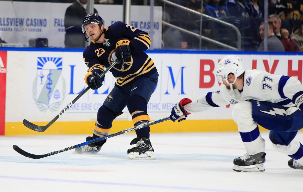 Buffalo's Sam Reinhart fires his second goal of the night into an empty net in front of Tampa Bay's Victor Hedman. (Harry Scull Jr./Buffalo News)