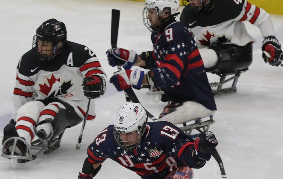 USA's Luke McDermott, who plays for the Buffalo Sabres sled hockey team, skates for the puck.(James P. McCoy/Buffalo News)