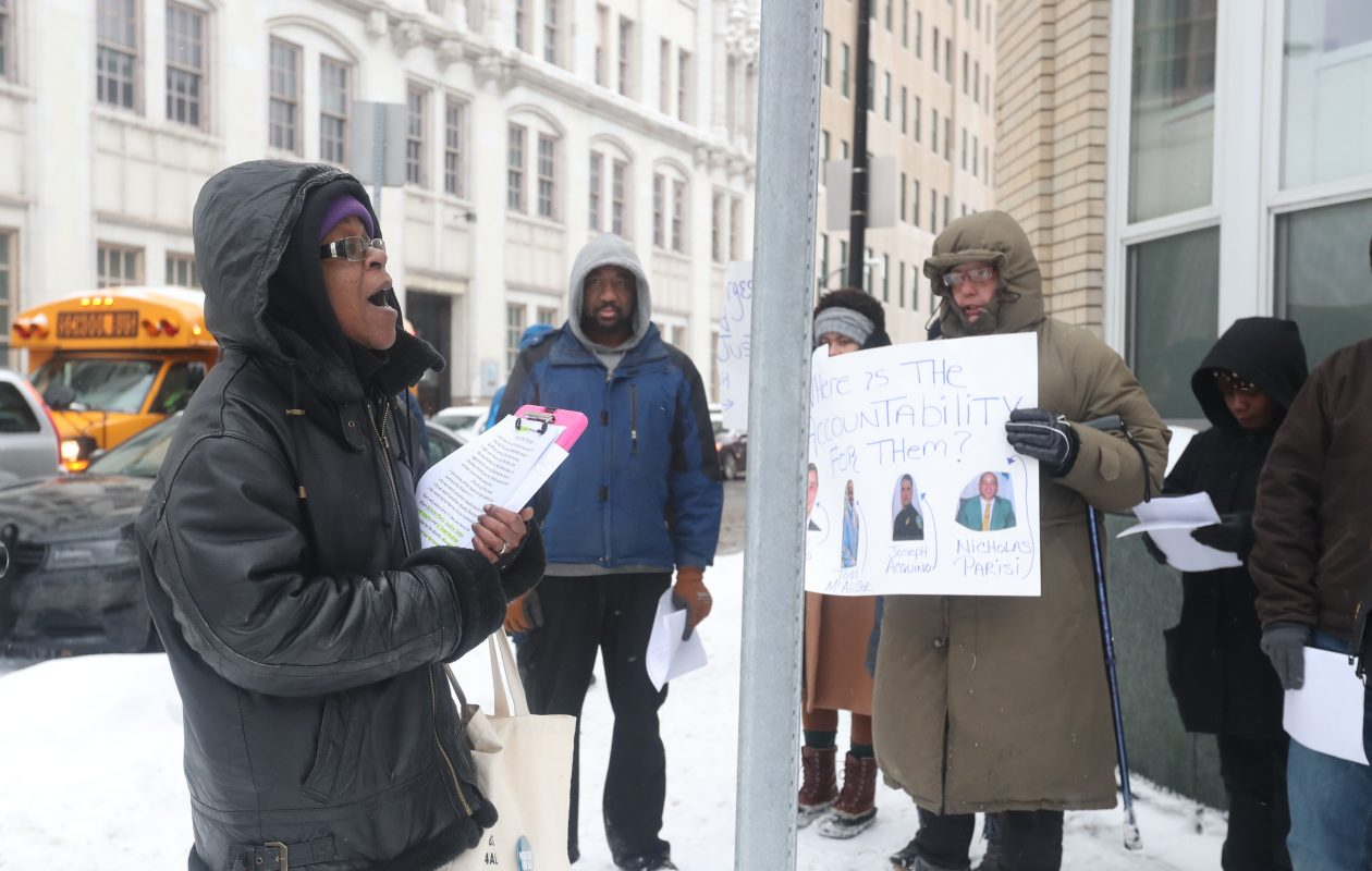 The Police Accountability Coalition holds a rally in front of Police Headquarters on the anniversary of the death of Wardel Davis on Wednesday.  (Sharon Cantillon/Buffalo News)