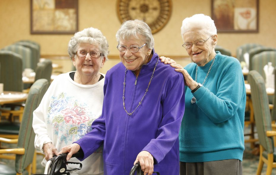 From left, Jean Ormond, 91, Jean Conlon, 90, and Evelyn Kruse, 93, lifelong friends, all live at Elderwood Assisted Living at West Seneca. (Robert Kirkham/Buffalo News)