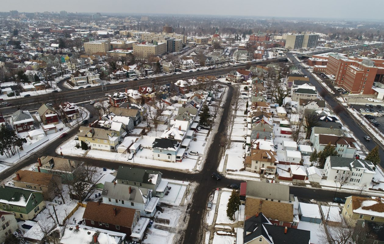 Loreing Avenue, left, and Monticello Place, center, run off of the Scajaquada Expressway, top left, through the Trinidad neighborhood which is bound by Kensington Avenue, right.  (Derek Gee/Buffalo News)