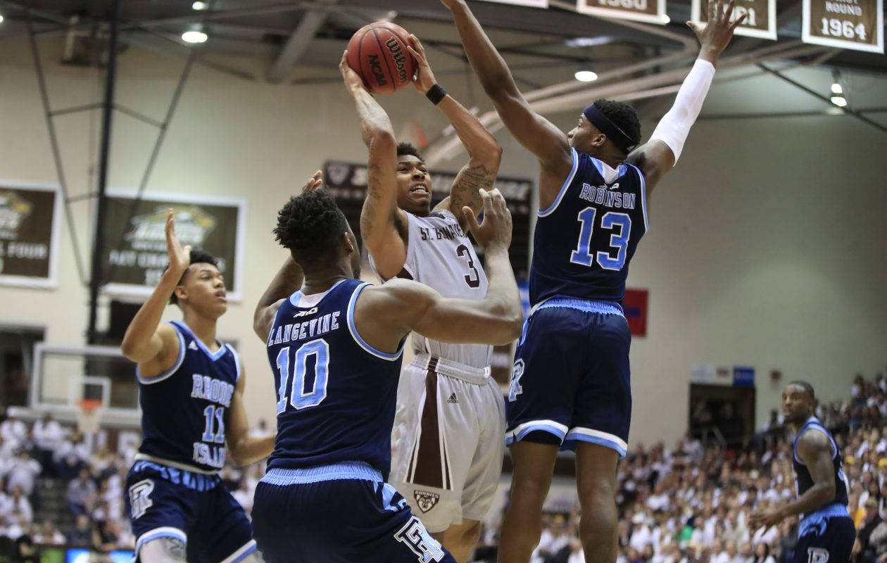 St. Bonaventure's Jaylen Adams drives to the basket against Rhode Island on Feb. 16. (Harry Scull Jr./Buffalo News)
