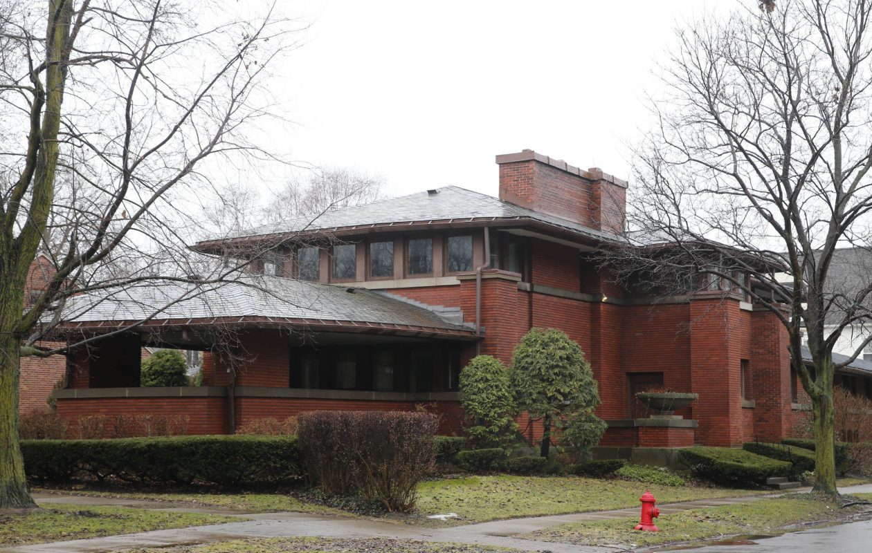 The prairie home designed by famed architect Frank Lloyd Wright on Soldiers Circle at Bird, pictured on Tuesday, Feb. 20, 2018. (Derek Gee/Buffalo News)