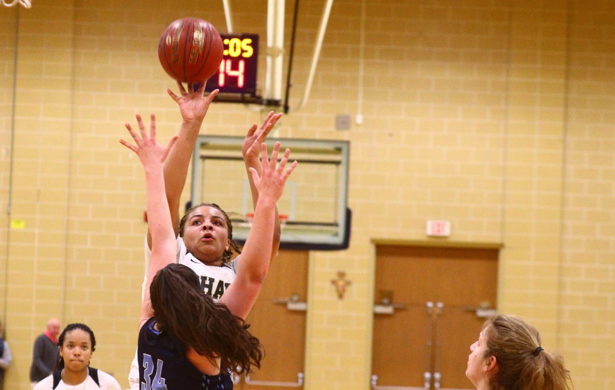 Kiara Johnson scored a game-high 18 points in Cardinal O'Hara's 60-35 win over St. Mary's of Lancaster in the Monsignor Martin Class A semifinals Sunday afternoon. (John Hickey/Buffalo News)