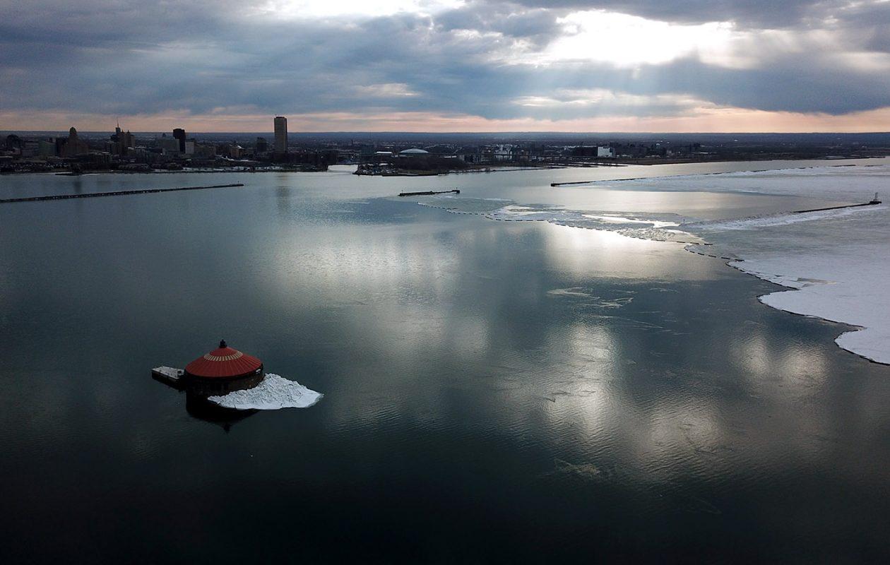 The ice cover is shrinking on Lake Erie in Buffalo. (John Hickey/Buffalo News)