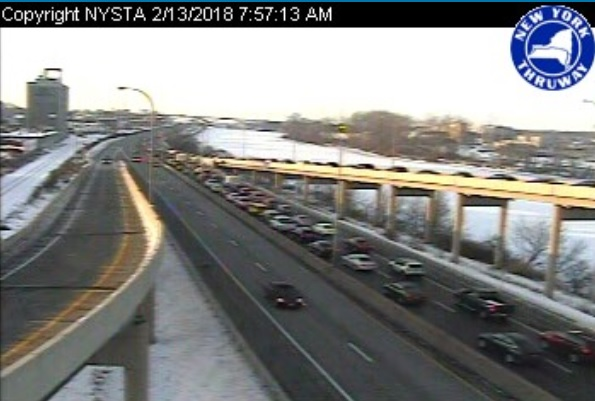 A view looking south of the I-190 in Buffalo near the Scajaquada Expressway. (Photo via NITTEC)