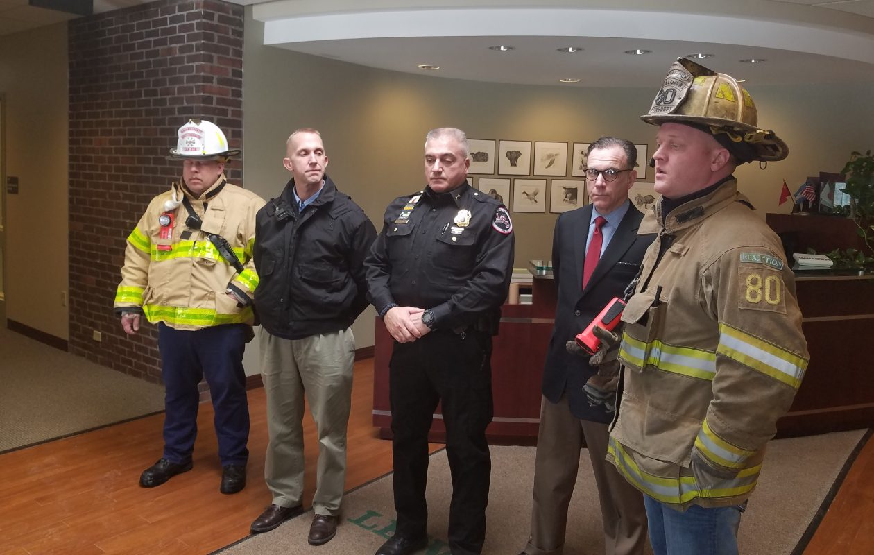 Left to right, Niagara County Deputy Fire Coordinator Mark Hain, county Emergency management Director Jonathan F. Schultz, Lewiston Police Chief Frank Previte, Lewiston-Porter School Superintendent Paul Casseri and Lewiston Fire Company No. 1 Assistant Chief Michael Salada brief reporters on a hazardous materials incident at Lewiston-Porter High School Feb. 6, 2018. (Thomas J. Prohaska/The Buffalo News)