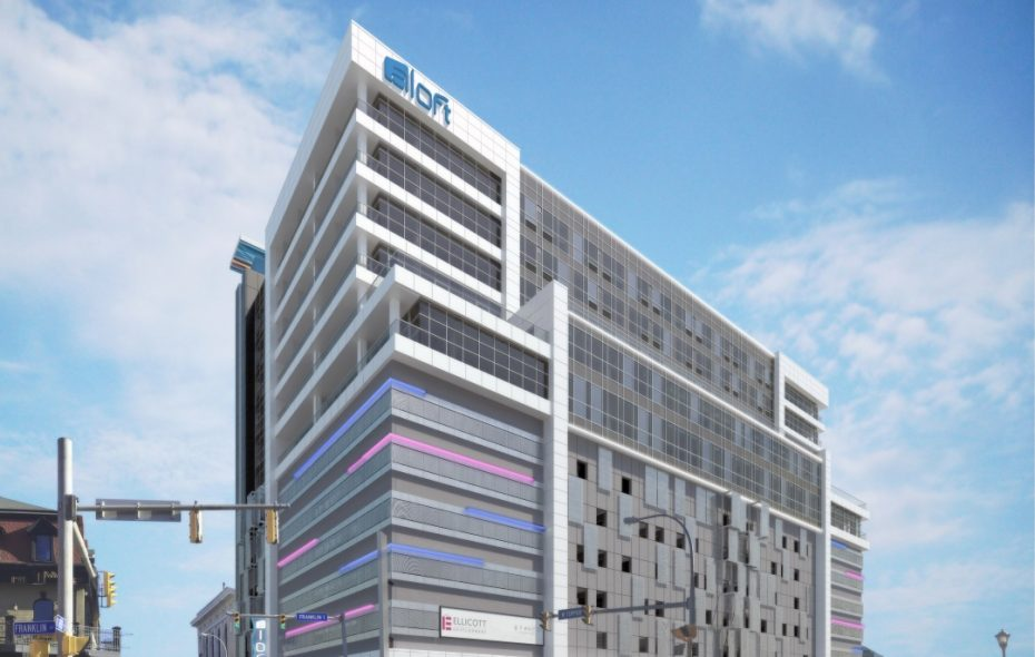 An updated rendering of Ellicott Development's 500 Pearl Street project, with the Aloft Hotel, as seen from Franklin Street.