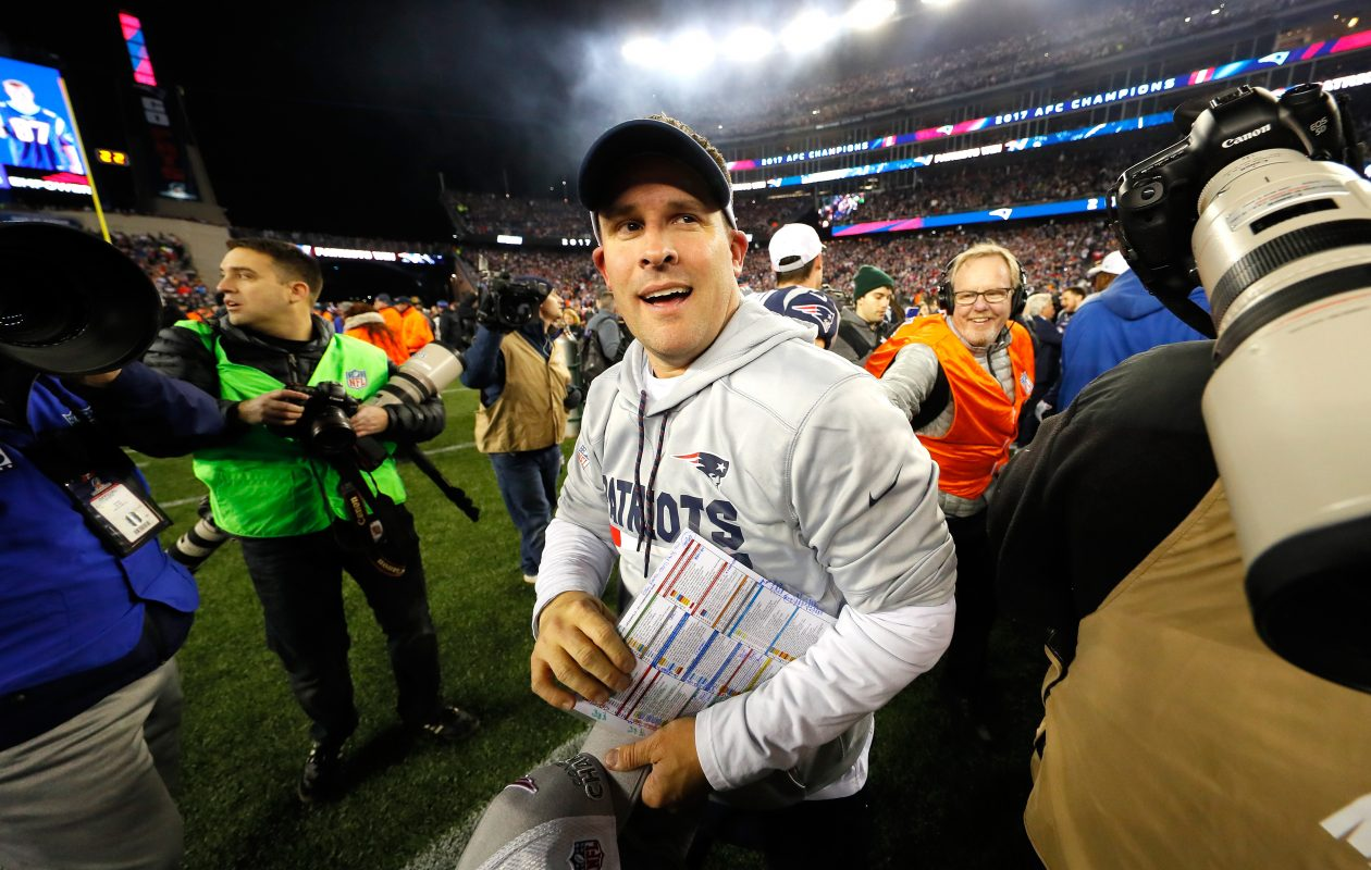 Offensive Coordinator Josh McDaniels of the New England Patriots celebrates after winning the AFC Championship Game against the Jacksonville Jaguars at Gillette Stadium on Jan. 21, 2018, in Foxborough, Mass.. (Photo by Kevin C. Cox/Getty Images)