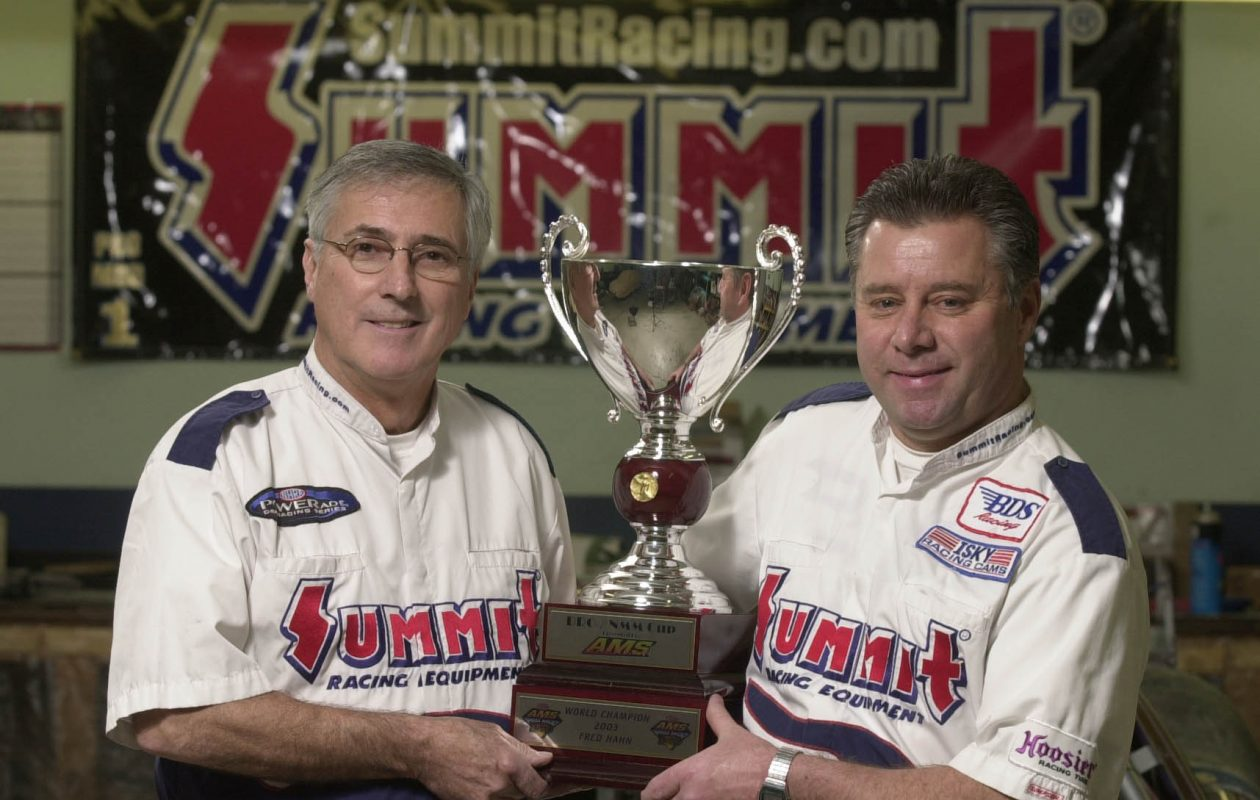 Jim Oddy, left, and Fred Hahn with their NHRA trophy at their shop in Elma in 2003. (Mark Mulville/Buffalo News file photo)