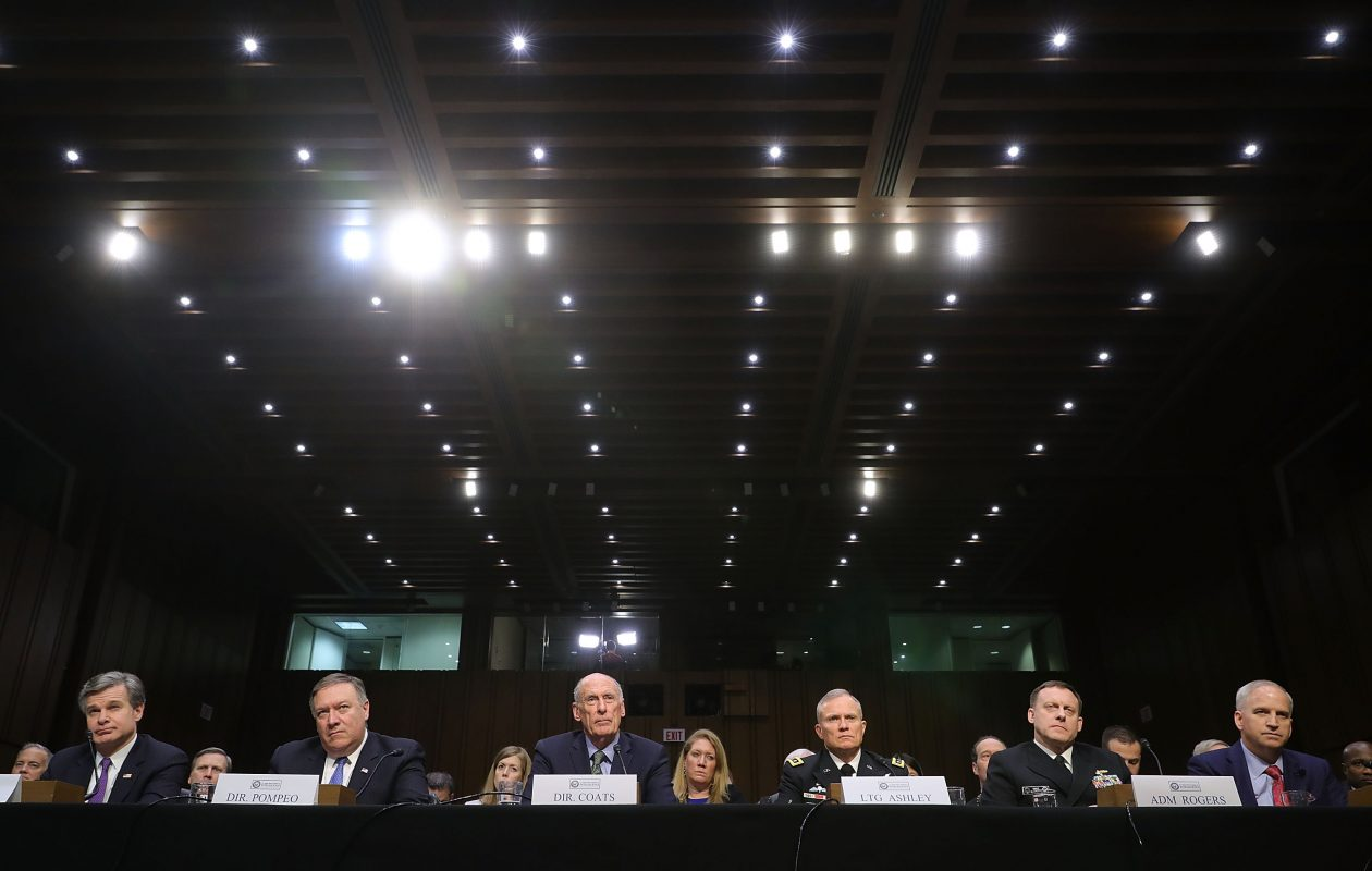 From left, FBI Director Christopher Wray, CIA Director Mike Pompeo, Director of National Intelligence Dan Coats, Defense Intelligence Agency Director Lt. Gen. Robert Ashley, National Security Agency Director Admiral Michael Rogers and National Geospatial Intelligence Agency Director Robert Cardillo testify before the Senate Intelligence Committee in the Hart Senate Office Building on Capitol Hill February 13, 2018 in Washington, DC.  (Getty Images)