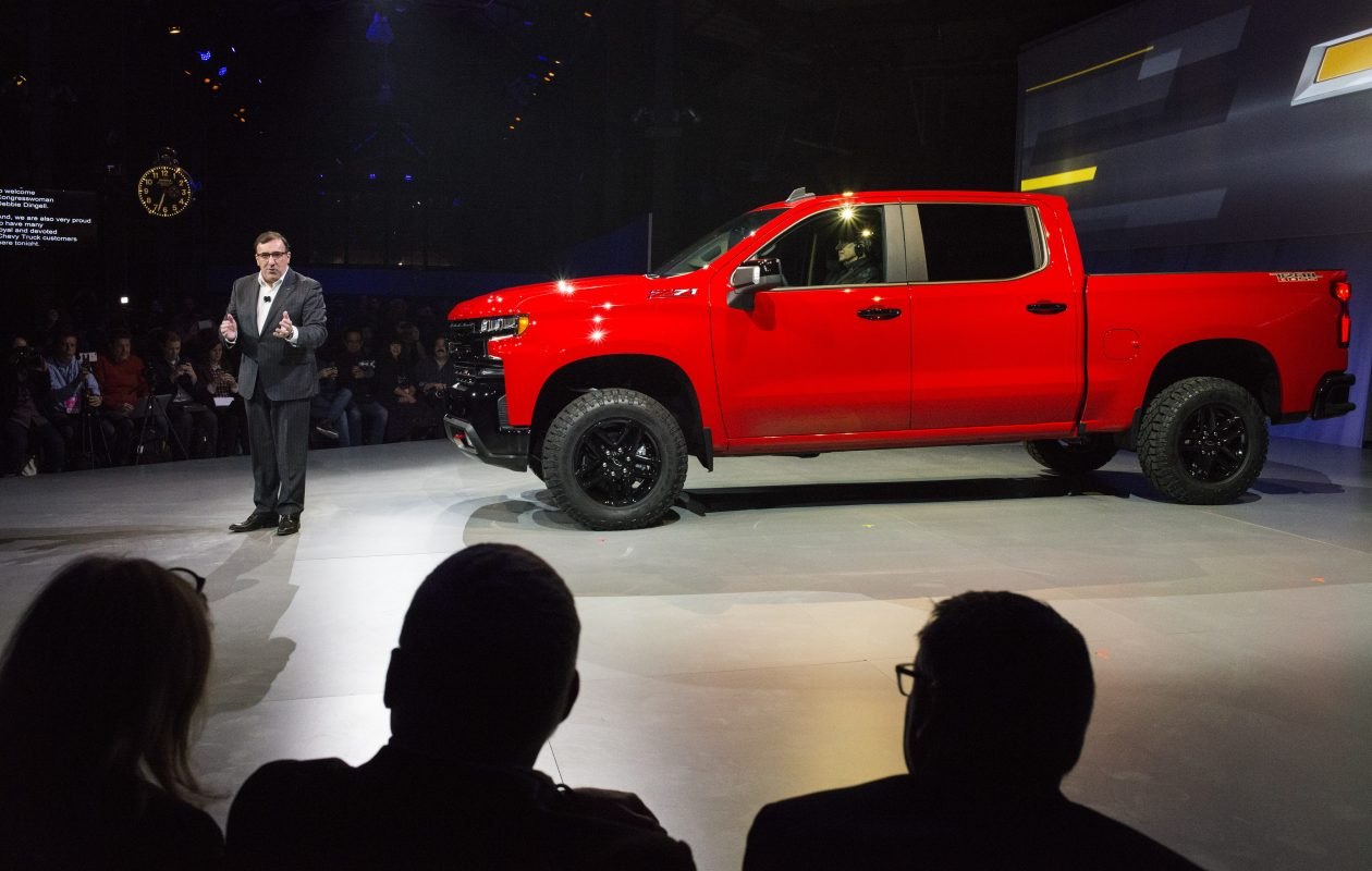 Before the start of the North American International Auto Show, Alan Batey, GM's North American president, introduces the new Chevrolet Silverado LT Trailboss (Brittany Greeson/New York Times)
