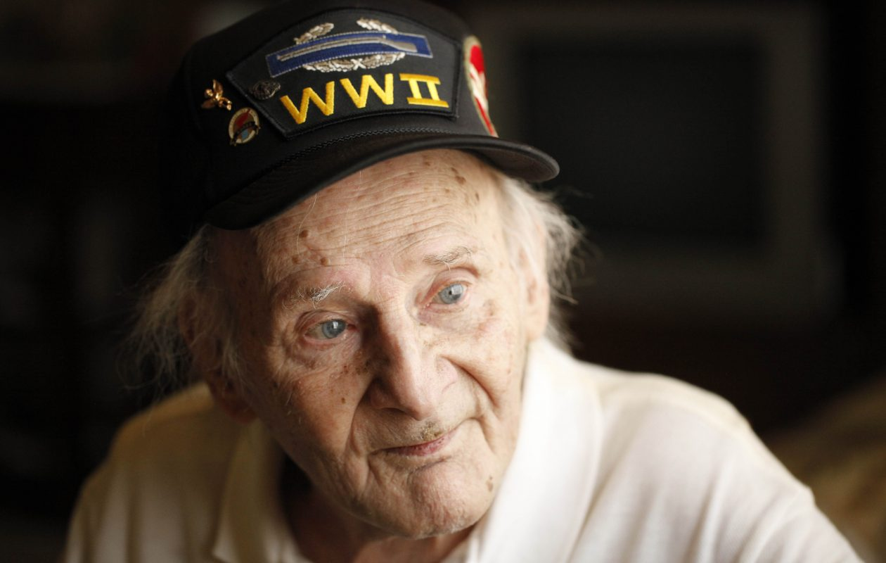 Veteran Allen Wanderlich, who served with the Army 84th Infantry in World War II and in the Air Force 19th Bomb Group in Korea.  Photographed in his Lockport home,  July 26, 2011.  (Derek Gee / Buffalo News)