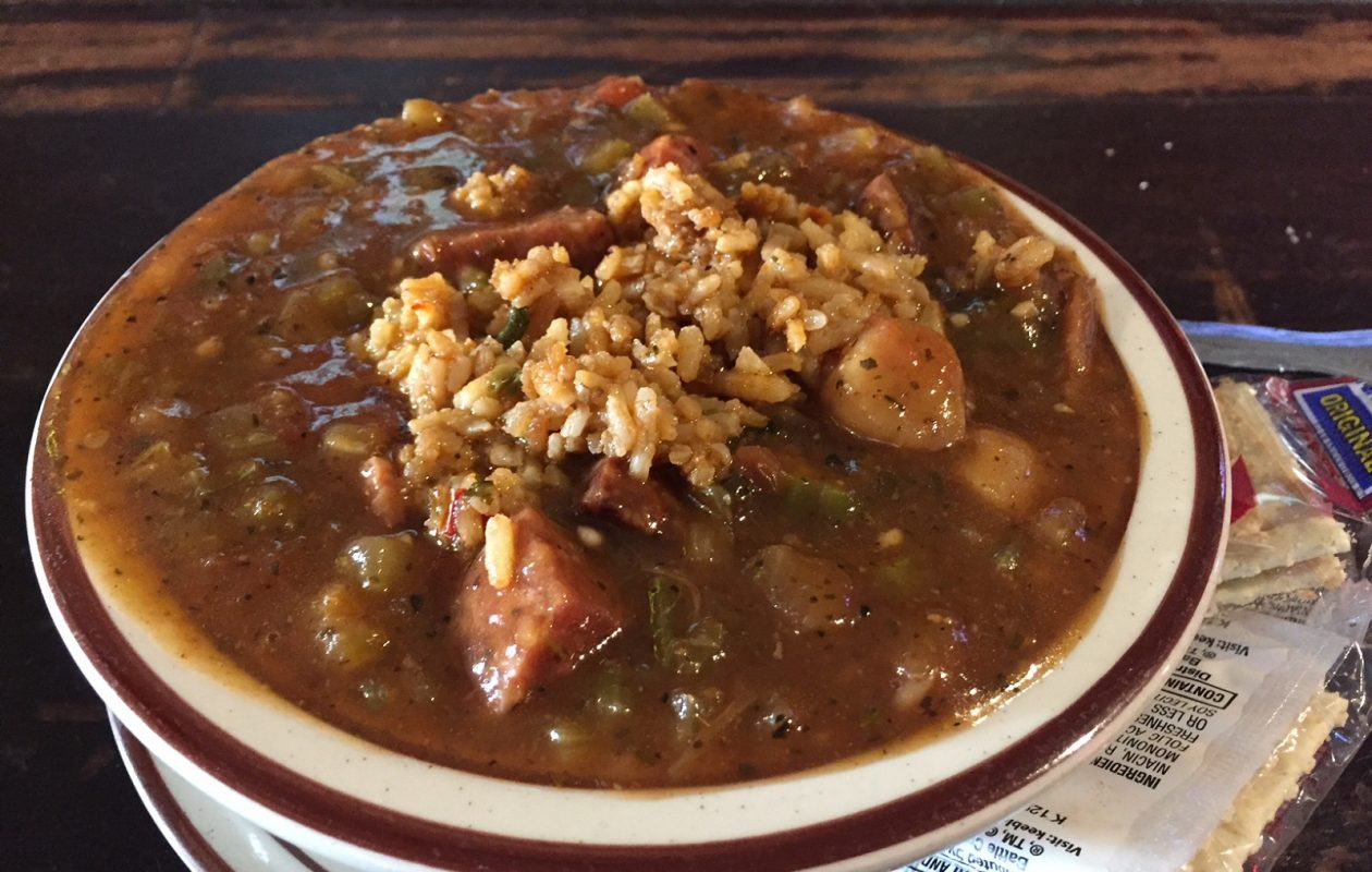 You can enjoy Mardi Gras every weekend with a big bowl of seafood gumbo at Wiechec's Lounge. (Elizabeth Carey/Special to The News.)