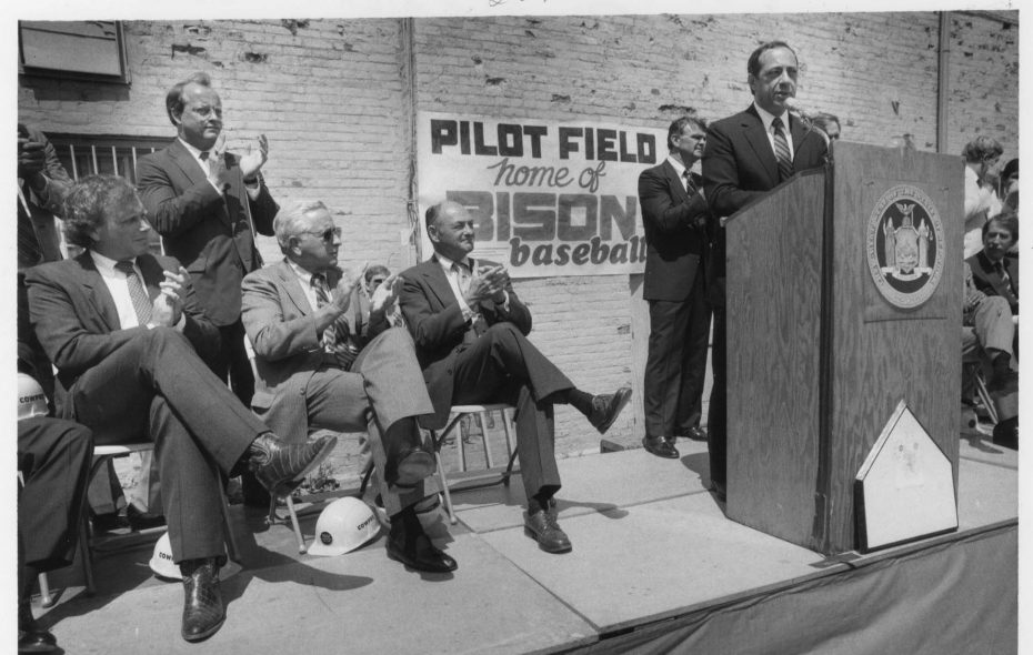 Gov. Mario Cuomo and dignitaries at groundbreaking of Buffalo's downtown ball park, originally named Pilot Field, July 10, 1986. (News file photo)