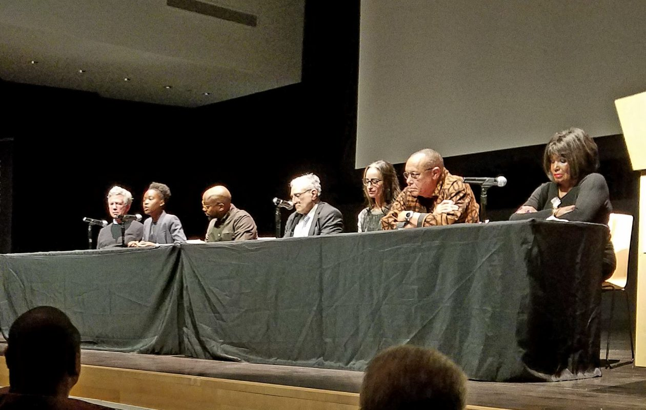 Larry Quinn and Carl Paladino take part in panel discussion on race Friday at Burchfield Penney Art Center (Photo by Harold McNeil)