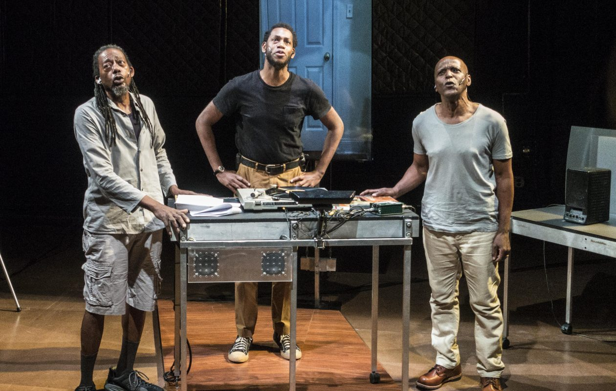 Philip Moore, Eric Berryman, and Jasper McGruder appear in the Wooster Group's production of 'The B-Side.' (Photo by Bruce Jackson)